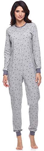 Merry Style Pijama Entero Una Pieza Ropa de Casa Mujer MS10-187(Gris/Lunares, XXL)