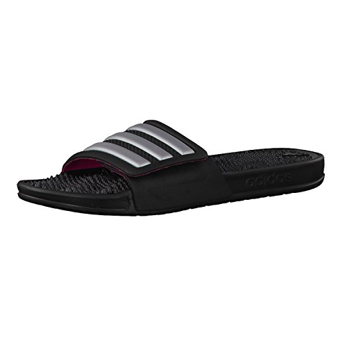 adidas Damen Adissage 2.0 Stripes Badeschuhe Schwarz (Core Black/Silver Metallic/Shock Pink)