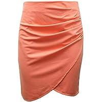 SKYROPNG Minifalda Mujer,Cintura Alta Color Naranja De Empalme Faldas Split,Estirar La Sutura De Fácil Limpieza Cómoda Mini Falda De Lápiz,para Casual Home Athletic Streetwear Silvestres,M