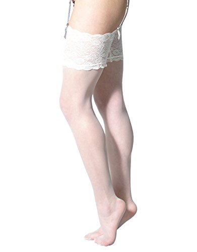 Calze per reggicalze | sexy calze da donna | bianco, naturale, avorio, nero | calzetteria italiana | (1/2 = s, avorio)