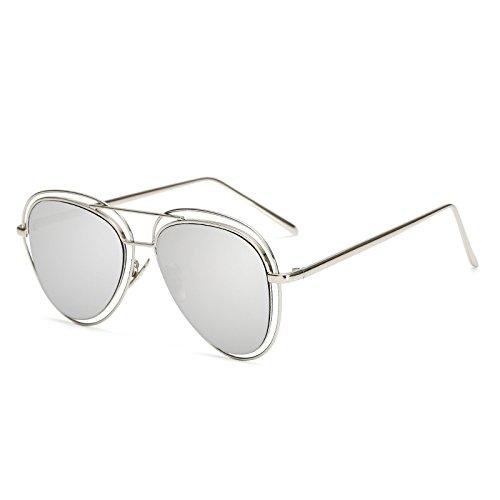 SUNGLASSES Neue Art und Weise Sonnenbrille Männer und Frauen Farbe Film hohlen Sonnenbrille Flut Mode Metall Doppel Kreis Spiegel Sonnenbrille (Farbe : Silver Frame White Mercury)