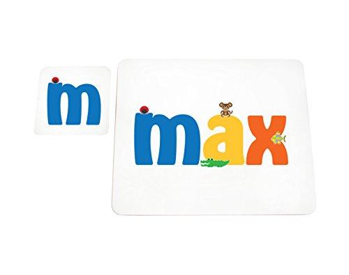Max-finish (Little Helper MAX-COASTERANDPLACEMAT-15DE Personalisiert, Mädchenname Untersetzer und Platzdeckchen mit Hochglanz-Finish, Max)
