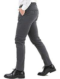 13ba616e375b94 Pantaloni Uomo Invernali Elegante Chino Classico Slim Fit Blu Nero Grigio Tasca  America Stretti Pantalone Cotone Invernale Casual Kaki…