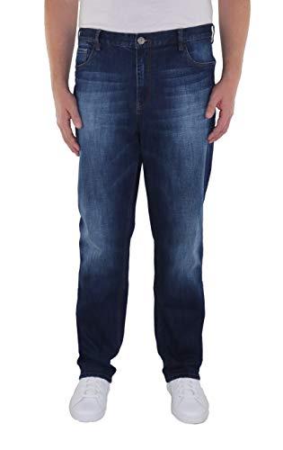 Herren 5-Pocket Jeans in Tapered Form in Den Größen 60, 62, 64, 66, 68, 70, XL, XXL, 3XL, 4XL, 5XL, 6XL, Große Größen, Übergröße, Big Size, Plus Size, Dark Blue Stone Washed, 60