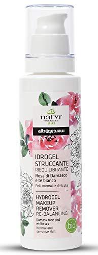 Natyr Bio Hydrogel Make-Up Entferner mit Rosenwasser, weißem Tee und Hyaluronsäure 150 ml - der Nr.1 Naturkosmetik Gesichtsreiniger aus Italien