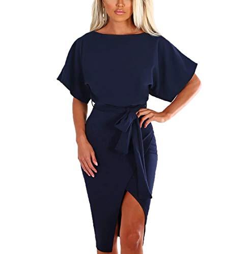 Ajpguot Damen Kleid Rundhals Kurzarm Sommerkleid Asymmetrisch Schlitz Strandkleid Einfarbig Knielang Kleider Freizeitkleid mit Gürtel Partykleid (Navy Blau, L) (Mantel Damen Midi)