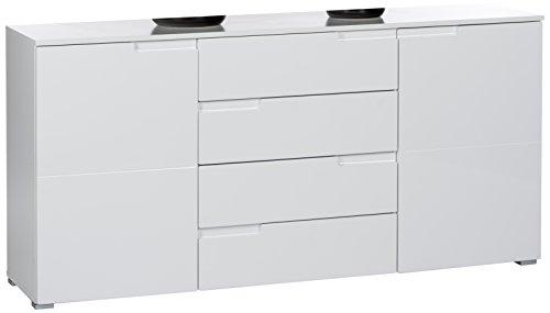 Stella Trading 44-958-13 Spice Sideboard 2 türig, 4 Schubkästen, Ausführung, 2 Einlegeböden, Grifffräsung, circa 165 x 80 x 40 cm, weiß