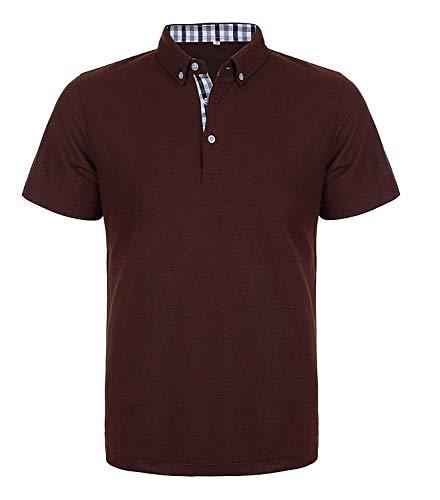 Wixens Herren Poloshirt Kurzarm Einfarbig Basic Polohemd Sommer T-Shirt Men's Polo Shirt, Dunkel Kaffee, XL