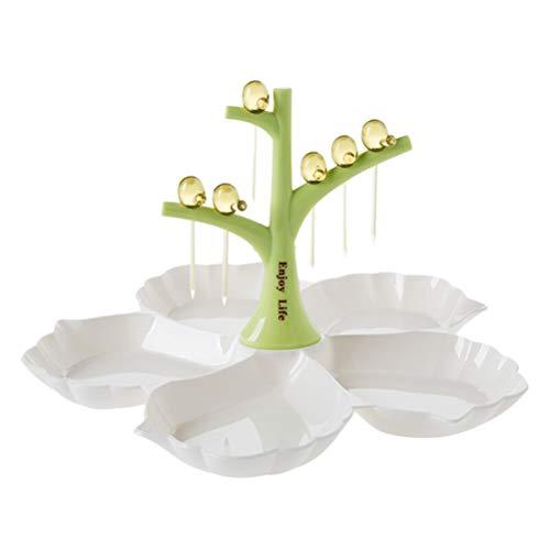 BESTONZON Obstteller Kunststoff Servierteller Baum Vogel Design mit Gabel Servierteller für Snacks Dessert Candy (Grün) Baum, Dessert