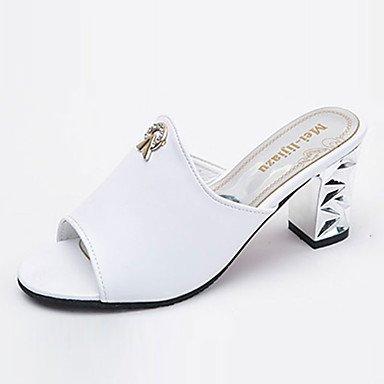 LQXZM La femme Chaussons & amp; tong sandales Printemps Été PU confort décontracté Talon talon bloc Noir Blanc 2in-2 3/4 White
