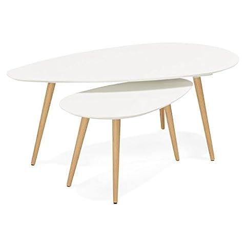Couchtische design Oval Verschachtelung GOLDA in Holz und Eiche (weiß)