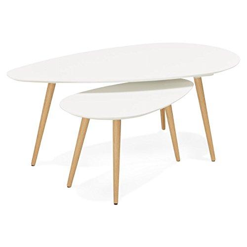 Tables basses design ovales gigognes GOLDA en bois et chêne massif (blanc)