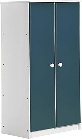 """Design Vicenza """"Avola"""" Zwei Tür Schrank, Holz, Weiß mit blauen Details"""