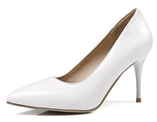 455a19a9583180 Aisun Damen Elegant Lack Kunstleder Spitz Zehen Stiletto Hoher Absatz Low  Top Pumps Weiß
