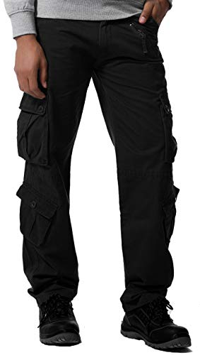 Gmardar Pantaloni Uomo Cargo Pantaloni da Lavoro con Multitasca Tasche Laterali Elegante Cotone 100% Larghi Fit Casual Taglie Forti Pantaloni Militari Estivi Invernali (Nero, 29W/31L)