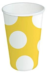 Braun & Company 3803-0001 - Vasos para Fiestas (10 Unidades), diseño de Lunares, Color Amarillo y Blanco
