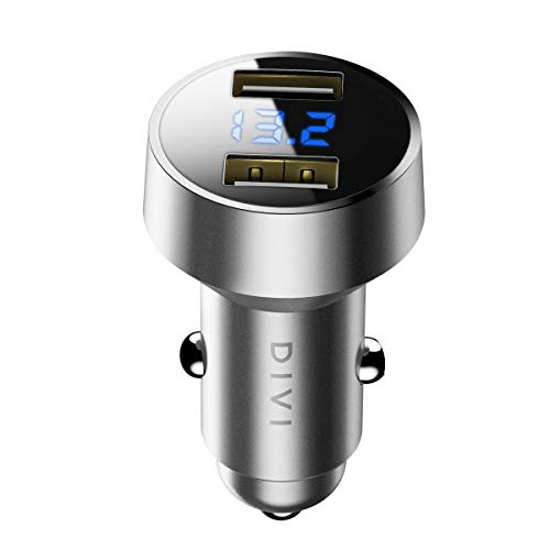 Cargador de Coche, Doble USB Puerto Cargador Móvil 5V/4.8A/24W, Adaptador Automóvil con voltímetro Digital LED, Carga rápida para iPhone X / 8/8 Plus / 7, iPad Air/Pro, Samsung, HTC, LG y más (Plata)