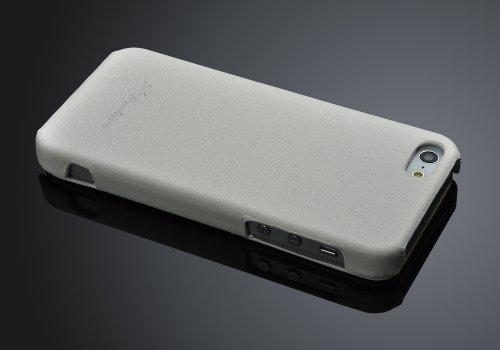 Lederhülle für Iphone 5 / 5s Hülle, ***ECHT LEDER - HANDGEFERTIGT*** - Zubehör Case Etui IPhone Flip Case Schutzhülle - Farben SCHWARZ, BRAUN, WEISS, ROT, PINK - (schwarz) weiss