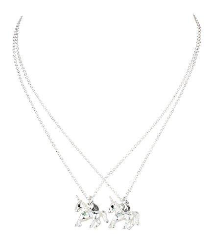 """Einhorn Kette, Damen Halskette, Freundschaftskette """"BF"""" beste Freunde, silberne Kette mit Einhorn Anhänger, 2 Stück (730-497)"""