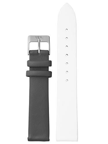laVIIDA Uhrband LB-SVI2006S Ersatzband Uhrband Leder 18 mm Weiß-Dunkelgrau-Silber