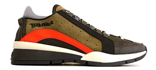 DSQUARED Scarpe camoscio e Tessuto Uomo Sneaker SNM0404 71800001 M1047 Militare Arancione N. 44 EU
