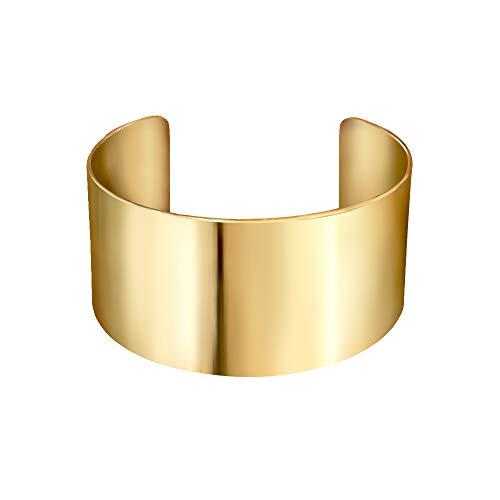Joeyan Schöne Poliert Breite Armband Armkette Mode Damen Armspange Schmuck, Gold