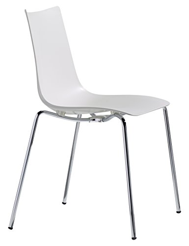 Parada One Design 2615 11 Zebra Techno Polymer Modern Stackable Dining Chair with Chrome Legs, Linen White