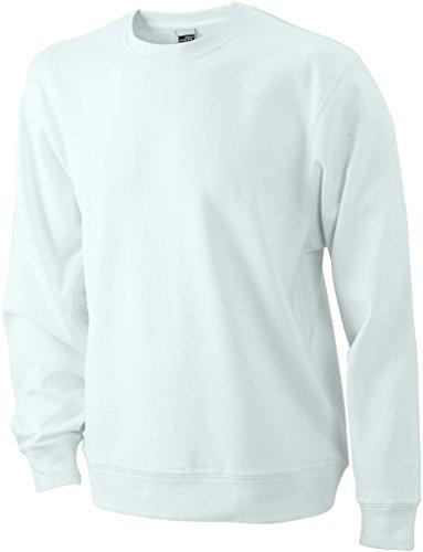 James & Nicholson Herren Basic Sweat Sweatshirt Weiß (White)