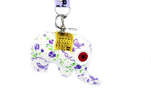 Westland GmbH Schlüsselanhänger als Elefant Stofftier in weiß mit Lila Blumenmuster, Goldener Sitzfläche und Rot,weißen Knopfaugen 095-00040 (Elefant Lila Stofftier)