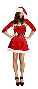 Smiffys-20770S Disfraz Fever de Mamá Noel, con Vestido, Gorro, Bolero y cinturón, Color Rojo, S-EU Tamaño 36-38 (Smiffy