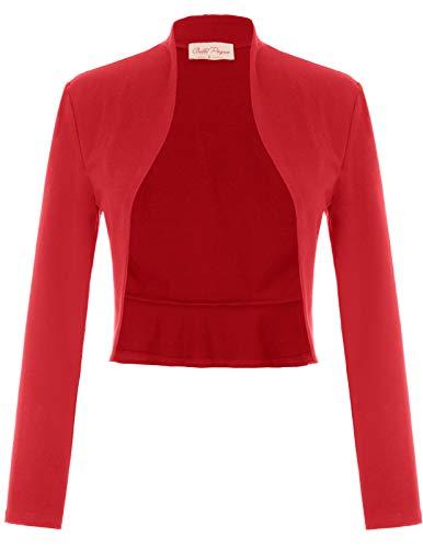 Fashion Bolero Damen Shrugs festlich Bolerojacke Schulterjacke Baumwolle Bolero rot S BP788-3