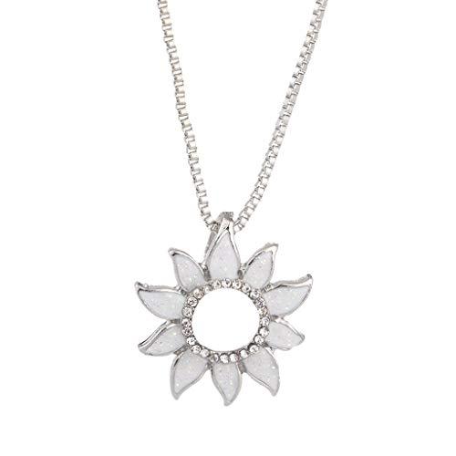 Mypace Anhänger Gold Silber 925 Für Damen Mode Frau Persönlichkeit Mode Charme Sunflower Choker Halskette Schmuck Kette Anhänger (Weiß)