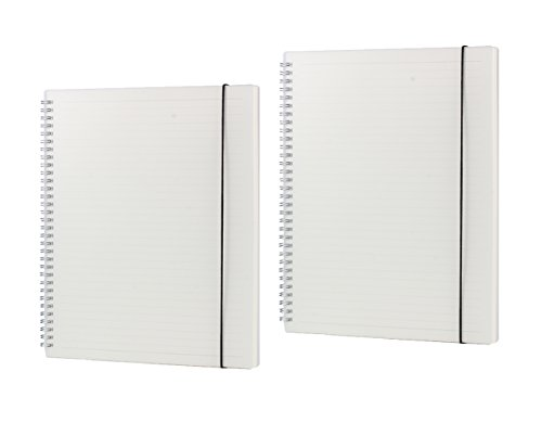 0 Blatt, liniert A4 Spirale Notebook, PP mattiert Spiralbindung Notebook mit elastischer Gürtel 2 Stück Doppelspirale Buch (Spirale Notebook)