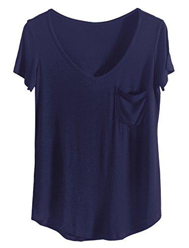 iClosam Damen T Shirt Casual Sexy und Elegante 2018 Sommer Top V Ausschnitt mit Tasche (Small, Dunkelblau)