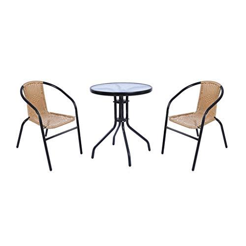 FeaturePoly Rattan Gartenmöbel Esstisch Stühle Set 2-Sitzer Terrasse WintergartenBistro