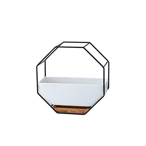 Geometrischer Blumentopf Achtseitige geometrische Wandbehang Keramischer Blumentopf - Für Zimmerpflanzen, Sukkulenten, Luftpflanzen, Kakteen (Weiß)