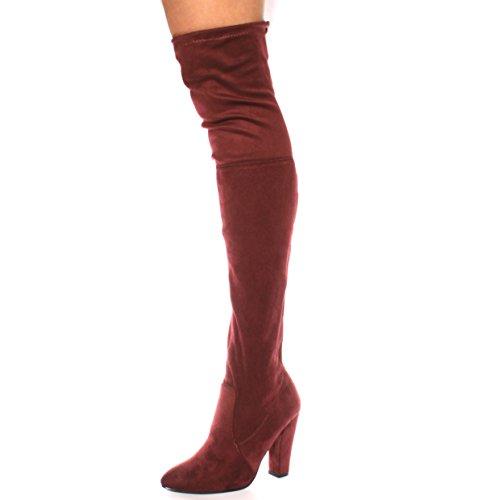 NEW Femme cuisse haute au-dessus du genou Bottes Stretch Soirée Tailles 3–8 Rouge - Bordeaux