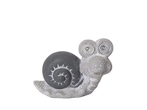meindekoartikel Deko-Figur Schnecke Keramik mit Solar LIC Grau 16x7x12,5cm