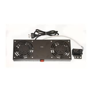 LINK lkvent2 Module 2 Fans with thermostat for wall rack cabinets, Black