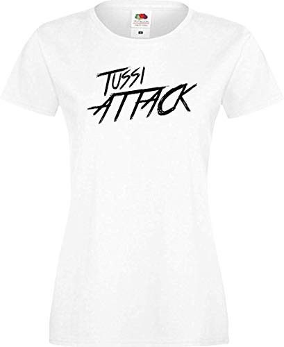 Shirtinstyle Lady T-Shirt Tussi Attack,Weiss, XS