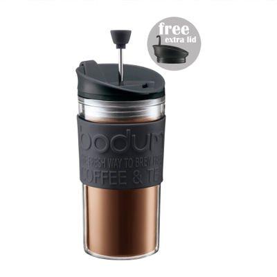 Bodum Travel Press macchina da caffè/tè con coperchio supplementare 0.35l/340,2gram nero
