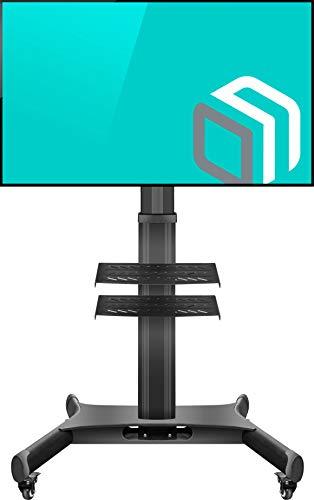 """ONKRON TV Mobil Ständer für 32\""""-65\"""" Zoll LED OLED QLED 4K 8K Plasma Fernseher Höhenverstellbar Rollbar TV-Standfuss mit AV-Ablagen VESA 100x100 bis 600x400 mm TS1661 Schwarz"""