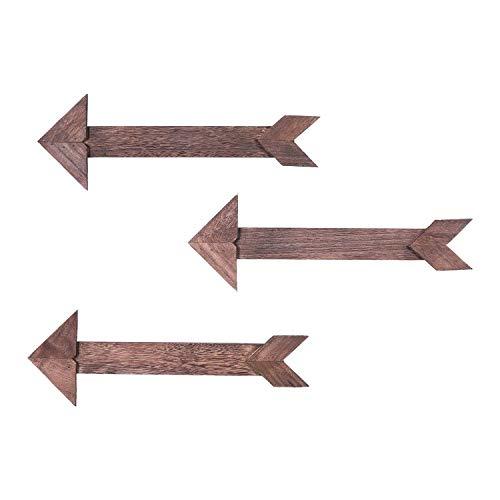 Comfify ArrowBarnwood Letrero de Madera Decorativo - Set de 3 Flechas para decoración de Pared en Azul rústico, marrón y Blanco - Letreros Decorativos de Madera - Incluye Hardware de Montaje - Marrón