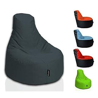 BuBiBag Sitzsack Gamer Playstation Sessel Lounge Kissen original Sitzkissen für In & Outdoor geeignet fertig befüllt mit EPS Styroporfüllung in 31 Farben erhältlich (80cm Durchmesser,Anthrazit)