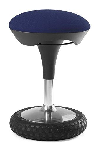 Topstar Sitness 20, ergonomischer Sitzhocker, Arbeitshocker, Bürohocker mit Schwingeffekt, Sitzhöhenverstellung, Bezug dunkelblau