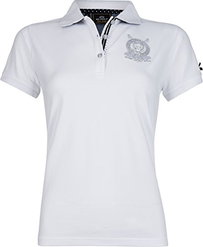 HV POLO Damen Polo-Shirt Beil kurzarm Lurex-Stickereien Pünktchen-Details Optical White