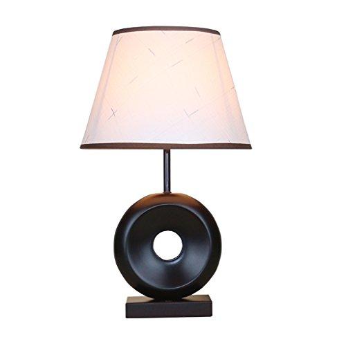 DNSJB Tischlampe LED Wohnzimmer Modernes Schlafzimmer Nachttischlampe Maroon Umweltschutz Schreibtischlampe Massivholz Persönlichkeit Ring Hohl Design Button Switch -