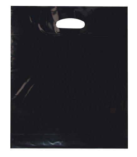 100 Stück Tragetaschen LDPE Plastiktüten schwarz 37 x 45 + 2 x 5 cm Einkaufstüten Beutel Shopper Grifflochverstärkung reißfest 50 mµ