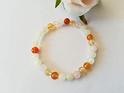 Bracelet Ménopause, Pierres Naturelles Femmes, Bracelet Citrine, Bracelet Pierre de Lune, Bracelet Quartz Rose, Cadeau pour Elle