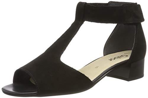 Gabor Shoes Fashion, Sandali con Cinturino alla Caviglia Donna, Nero (Schwarz 17), 44 EU
